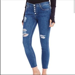 Free People button fly distressed skinny jeans